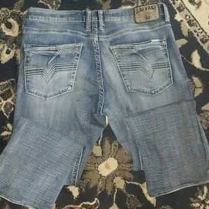 Mens buckle salvage jeans